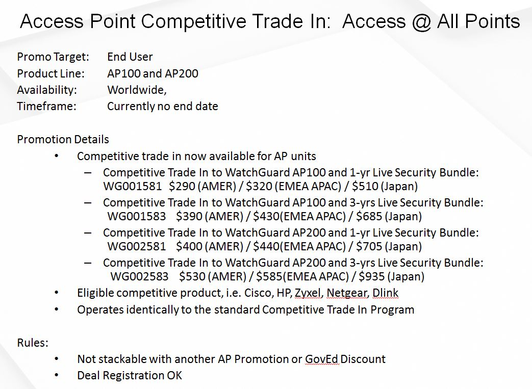 Access Point Competitive Trade In
